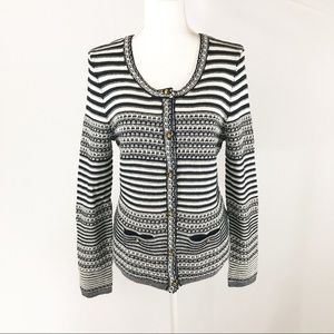 Trina Turk Navy and Off White Striped Cardigan